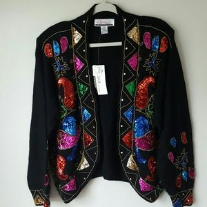 NWT Vintage Sequined Silk blend Sweater-22